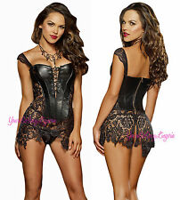 Sexy BLACK FAUX LEATHER CORSET DRESS WET LOOK Venice Lace SKIRT Thong GOTH 32-38