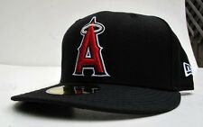 LA Angels of Anaheim Black On Red Logo All Sizes Fitted Cap Hat by New Era