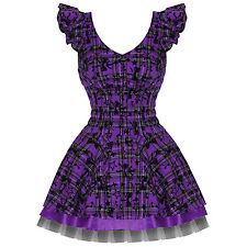 Ladies New Hearts & Roses London Purple Tartan Tattoo Punk Emo Prom Party Dress