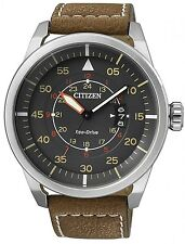 Citizen Eco-Drive Aviator Pilots Brown Leather 100m Watch AW1361-10H AW1360-12H