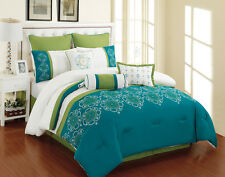 9 Piece Parksville Turquoise and Green Comforter Set
