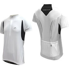 More Mile Mens Short Sleeve Cycle Cycling Jersey Pockets White/Black