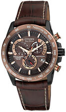 Citizen Eco-Drive Sapphire Radio AT Chrono Perpetual Leather Watch AT4006-06X