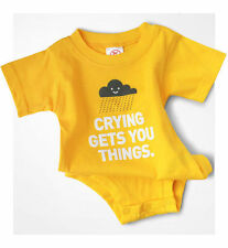 Wry Baby Crying Get You Things Onesie Romper Funny Infant Gift Shower Tears Cute