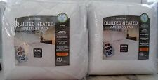 BIDDEFORD QUILTED ELECTRIC HEATED MATTRESS PAD KING OR QUEEN DUAL CONTROLLERS