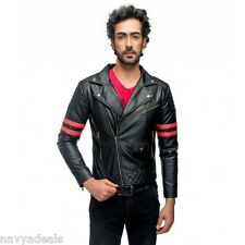 Men's Semi Leather Jacket with Slim fit Design Italian Fashion