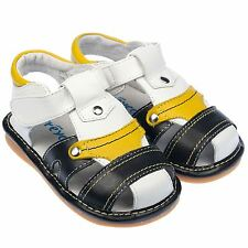 Boys Toddler Childrens Kids Real Leather Squeaky Shoes Sandals White with Black
