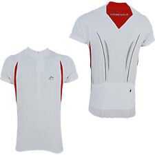 More Mile Short Sleeve Mens Cycle Cycling Bike Jersey Pockets White/Red