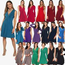 Womens Ruched Twist Knot Front Low Cut V Neck Top Pleated Swing Dress Party