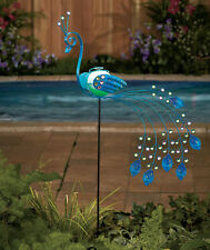 Peacock or Flamingo Solar Metal Garden Birds Garden Yard Colorful Decor