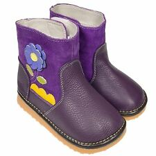 Boys Girls Toddler Childrens REAL Leather & Suede Squeaky Boots Shoes - Purple