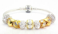 Authentic Pandora Bracelet +GENERIC 18K Gold PLT Sterling Silver Charms & Beads