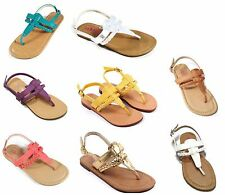 Girls Youth Toddler Kids Braided Gladiator Sandals Strappy Shoes Flip Flop Flats