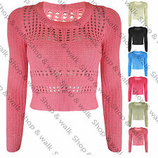 Womens Ladies Crochet Long Sleeves Net Knitted Crop Cropped Jumper Top Size 8-14
