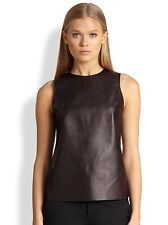 NWT VINCE Sheer Back Leather Shell Top tank in Mulberry $495