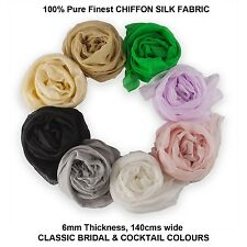 Neotrims Finest Luxury Chiffon 100% SILK Fabric, Georgette Soft, 8 Bridal Colour