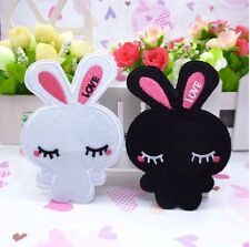 5PCS Embroidered Cartoon White/Black Rabbit Sew Patch iron Appliques 7cmX10.5cm