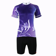 NEW Purple lily Women Outdoor Sports Colthing Cycling Jersey+Shorts Shirt XS-3XL