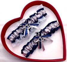 NEW Bridal Wedding Garter Prom Silver Navy White GetTheGoodStuff  Beach Anchor