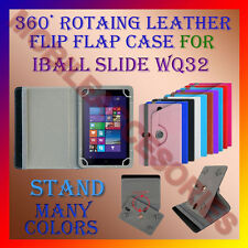 """ROTATING 360° LEATHER FLIP STAND COVER 8"""" CASE for IBALL SLIDE WQ32 TABLET TAB"""