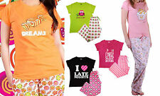 Ladies PJ Pyjama Sets Mum Day Novelty T Shirt Bottoms Owls Pattern Sleep Wear