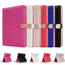 DIAMOND CRYSTAL LUXURY QUILTED STAND LEATHER MAGNETIC COVER CASE FOR IPAD IPHONE