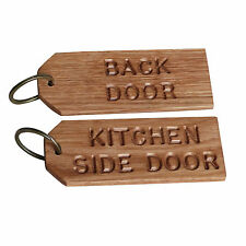 LARGE Engraved OAK Personalised WOODEN Keyring HANDMADE Hotel B&B SHED Wood KEYS