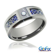 USA 8Mm CZ Silver Celtic Dragon Tungsten Carbide Ring Men Jewelry Wedding Band