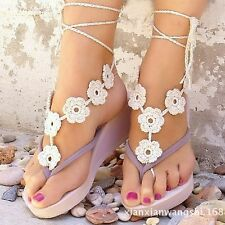 Barefoot Sandals Beach Wedding Bridal Yoga dance Foot Jewelry Knit Anklet flower