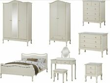 Loire French Shabby Chic Vintage Ivory Bedroom Furniture, wardrobe, drawers, bed