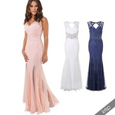 Womens Lace Diamante Fishtail Long Bodycon Maxi Dress Bridesmaid Party Evening