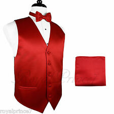 FIRE RED Tuxedo Suit Vest Waistcoat and BUTTERFLY Bow tie Hanky Set Wedding Prom