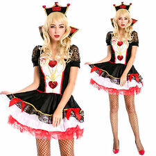 New Red Queen of Hearts Alice In Wonderland Ladies Costume + Crown