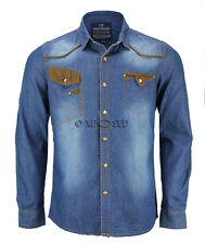 Mens Slim Fit Blue Washed Denim Long Sleeve Elbow Patched Jean Shirt