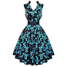 Hearts and Roses London Kitsch Blue Bow 50s Vintage Tea Party Dress