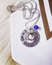 Custom I Love My Police Officer Necklace Gift Hand Cuffs Law Enforcement Deputy