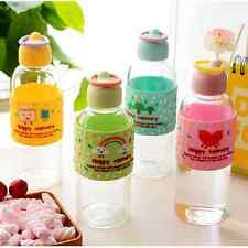 Cartoon Pattern Nipple Shape Portable Silicone Sleeve Glass Bottle BPA Free Cup