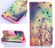 Be free Flying bird graffiti Card hold wallet Flip Leather cover case for phone
