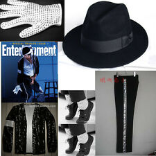 Newest Michael Jackson Billie Jean hat&Glove&Socks&Jacket&Pant&shirt MJ Costume