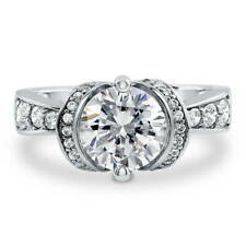BERRICLE Sterling Silver Round Cut CZ Solitaire Engagement Ring 2.45 Carat