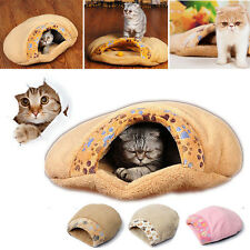 Soft Cat Dog Sleeping Bag Warm Snuggle Sack Pet Bed House Cave Pouch Mat S M