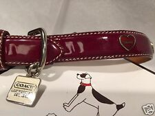 NEW COACH WHITE CHARM WINE RED HEARTS AROUND GROMMET LEATHER MEDIUM DOG COLLAR M