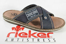 Rieker Mules Slippers Clogs blue, soft leather insole NEW
