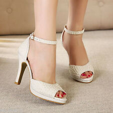 Ivory pearl shine lace open top heels Bridal ankle strap wedding shoe size