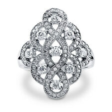 BERRICLE Sterling Silver CZ Woven Fashion Right Hand Cocktail Ring
