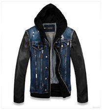 Mens Fashion Denim jacket faux leather sleeve Locomotive Motorcycle hooded coat