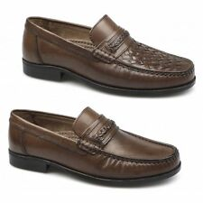 John Mac Stone Mens Leather Slip On Comfy Moccasin Penny Loafers Shoes Tan Brown