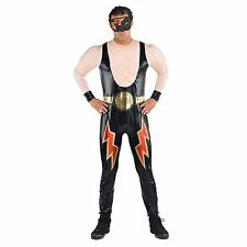 WWE Wrestler Mens Fancy Dress Wrestling Party Adult Deluxe Jumpsuit WWF Costume
