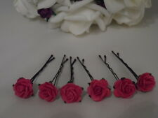 6 ROSE GRIPS 30 colours hair accessories wedding kirby flower