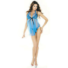 Sheer Babydoll Halter Top Nightie Blue G-String Panties Lingerie Set Sexy Med L